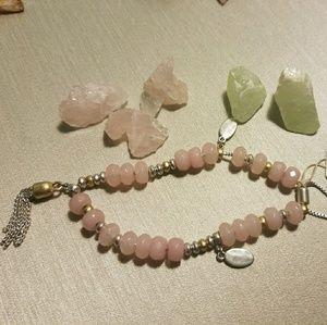 Lucky Brand Natural Rose quartz slider bracelet